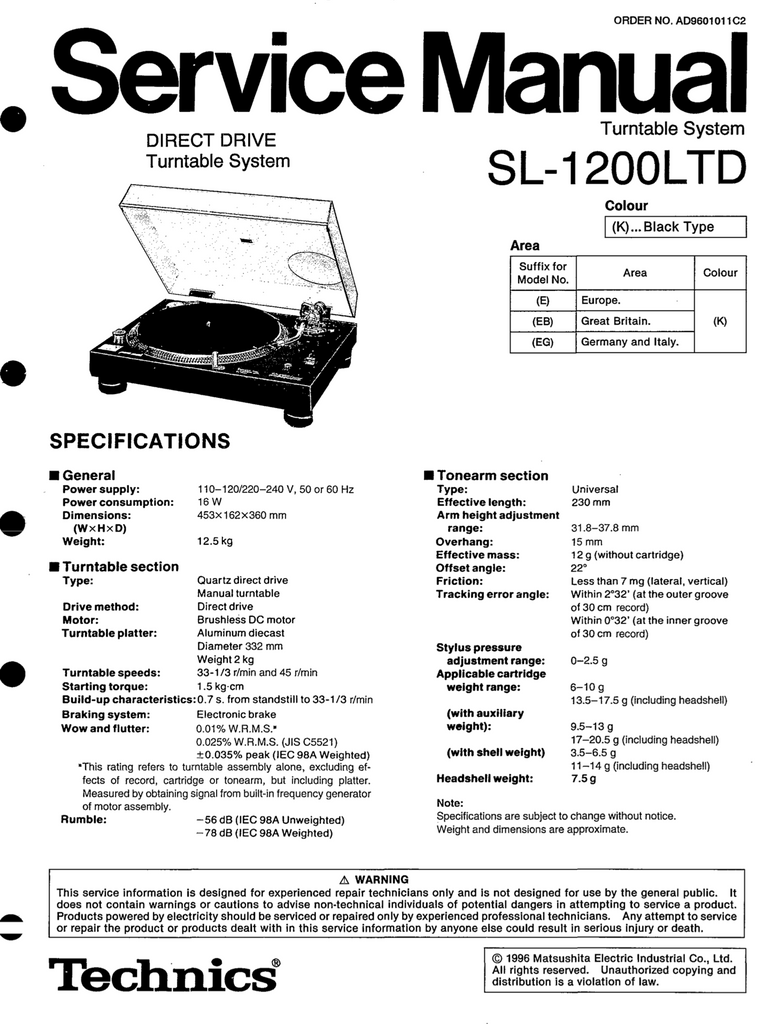 Technicd SL-1200LTD Service Manual
