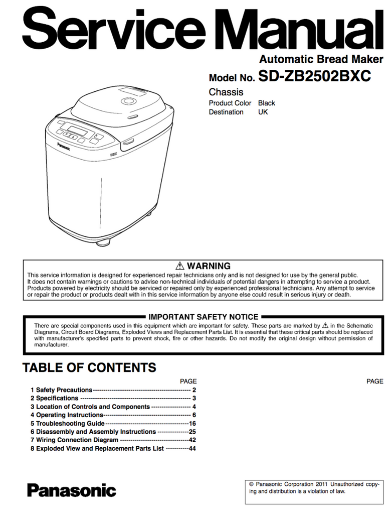 Panasonic Sd Zb2502bxc Service Manual Complete Spared Parts Uk Wiring Diagram Rice Cooker