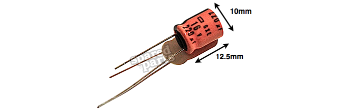 220UF 16V Electrolytic Capacitor 125°C 10x12.5mm - Spared Parts UK