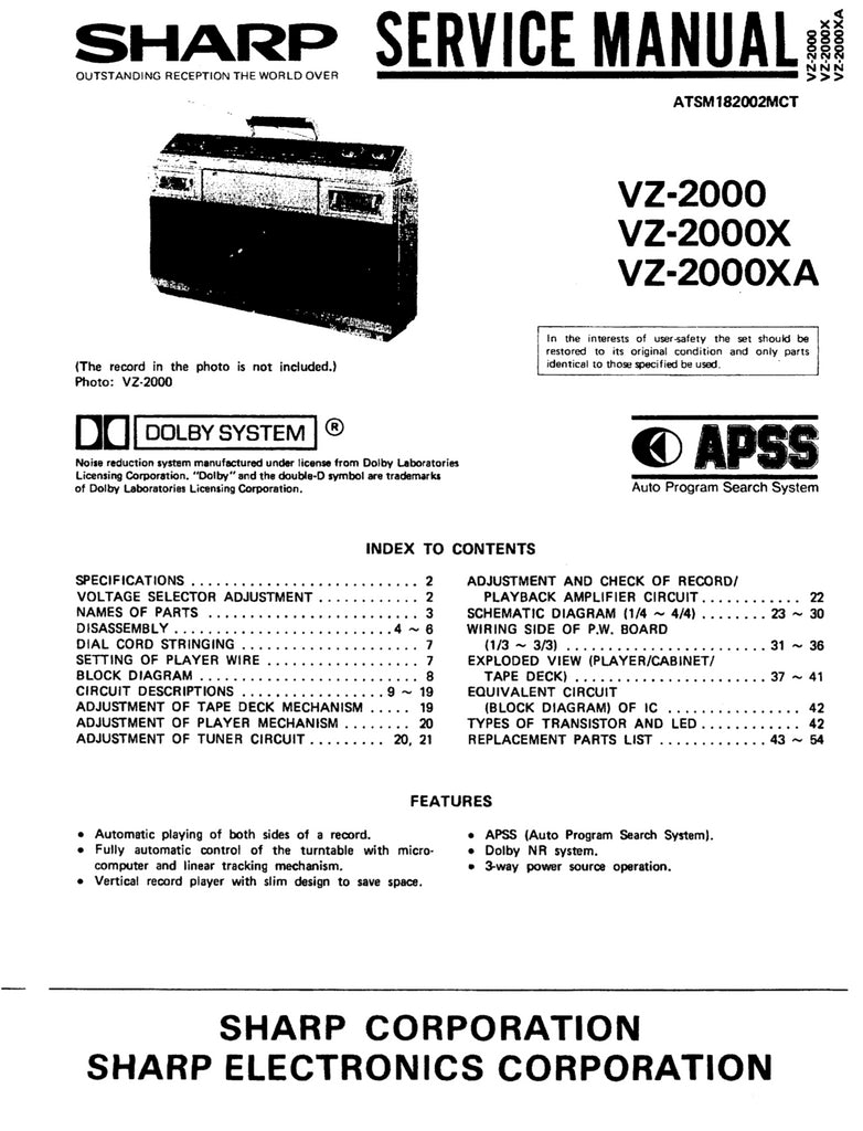 Sharp VZ-2000 VZ-2000X VZ-200XA Service Manual