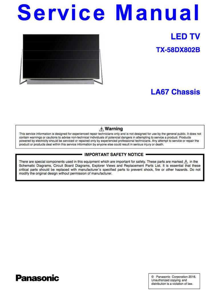 Panasonic TX-58DX802B LA67 Service Manual