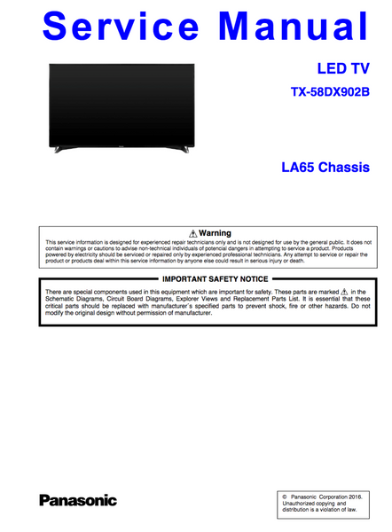 Panasonic TX-58DX902B Service Manual Complete