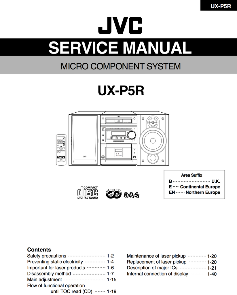 JVC UX-P5R Service Manual Complete - Spared Parts UK