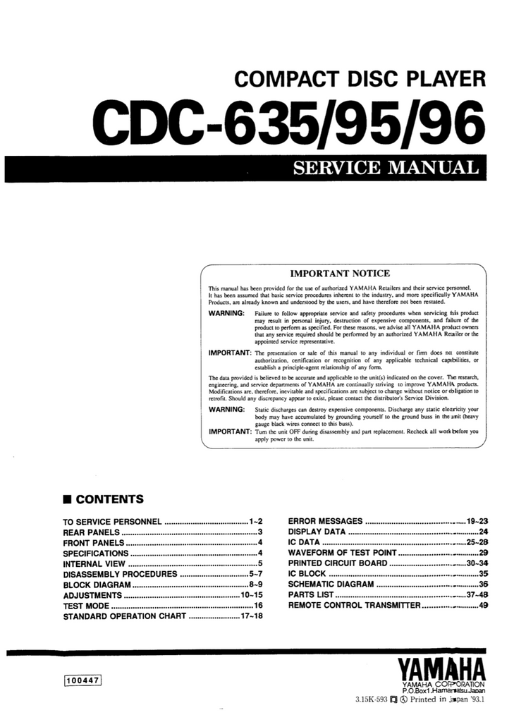 YAMAHA CDC-635 695 696 Service Manual Complete