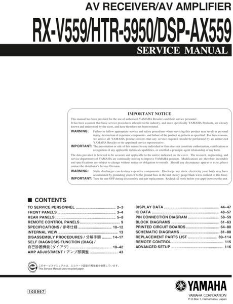 Yamaha RX-V559 HTR-5950 DSP-AX559 Service Manual Complete