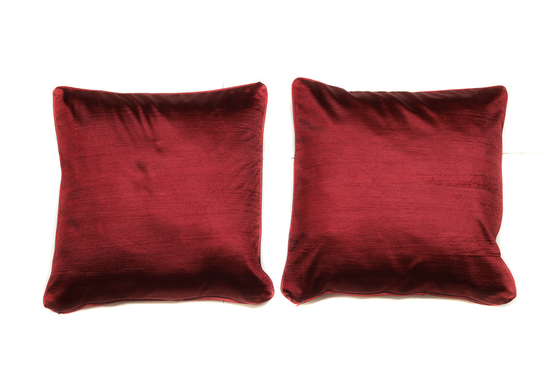 Dazzling Exquisite Solid Pattern Cotton Maroon Cushion / Throw Pillow with Satin Back Covers 16 X 16 Inches Set Of 2(SI_W_001)