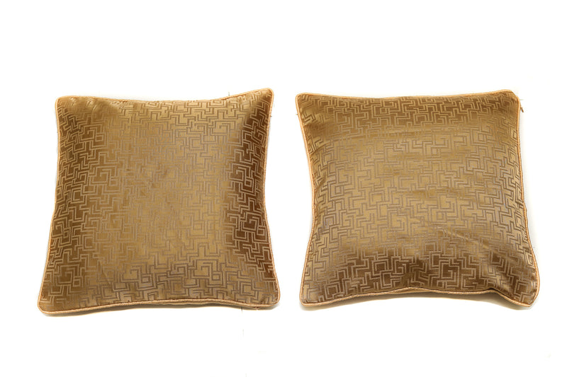 Decorative Throw Pillow/Cushion Covers Polyster Gold Color with Satin Back Covers 16 X 16 Inches Set of 2(SI_D_003)