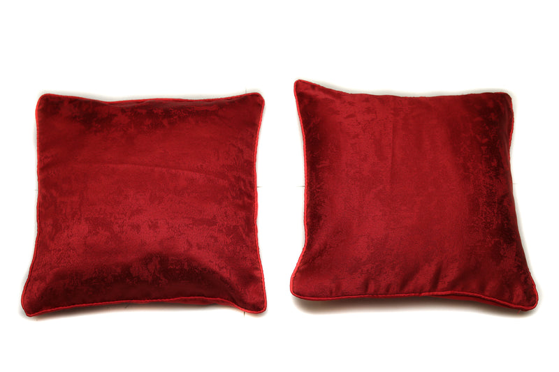 Nice Pleasing Solid Pattern Polycarbonate Red Cushion / Throw Pillow with Satin Back Covers 16 X 16 Inches Set Of 2(SI_Z_001)