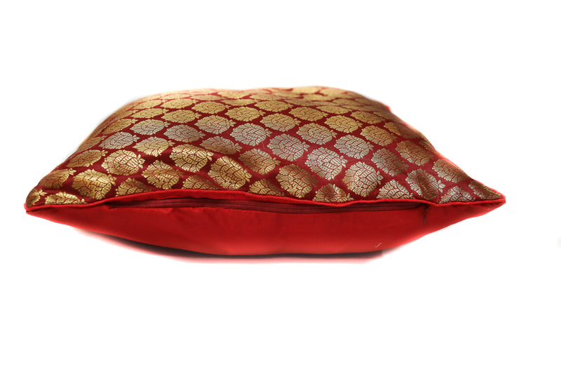 Decorative Silk Cushion Covers in Traditional Paisley Motifs Set Of 2 Red Color Throw Pillow16 X 16 Inches(SI_CC_0011)