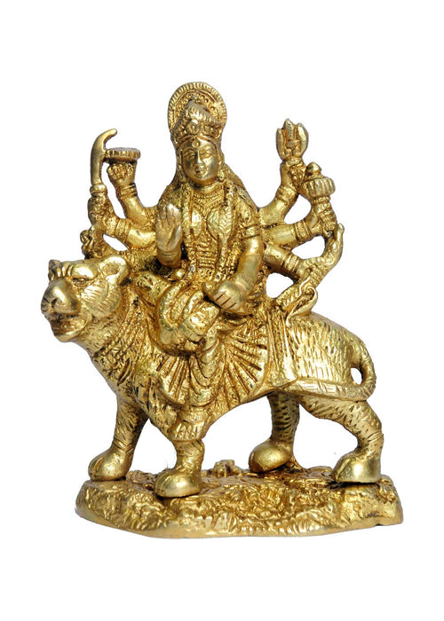 Brass Statue / Idol Of Goddess Durga Ma ,(Lxbxh - 4 X 2 X 5.25) Inches Weight - 0.9 Kg