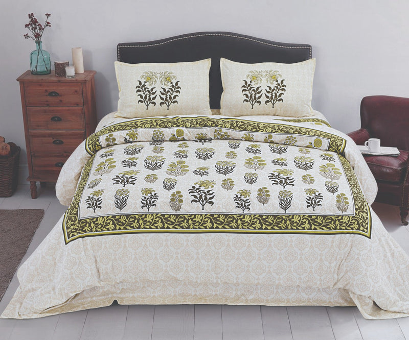 Comfort Rajasthani Jaipur Super King Cotton Traditional Print Beutiful Bedsheet Cream and Yellow Color Floral Bedspread for Double Bed Size (100x108 Inch) With Pillow Covers (18 X 28 Inch)(BPJ_012)