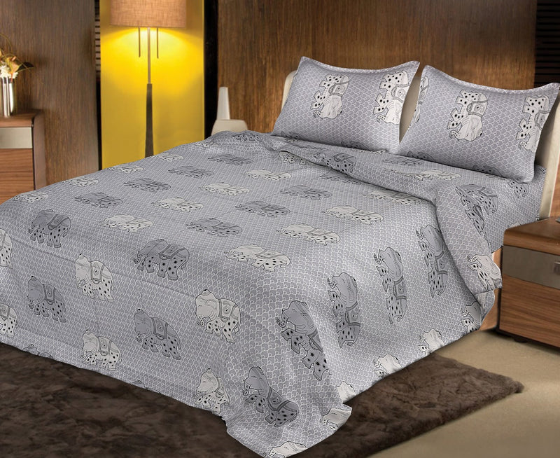 Premium Quality Super King Cotton Bedsheets Combo Double Bedspread Rajasthani Jaipuri Grey Color Elephant Print  Beautiful Traditional Design Size (100x108 Inch) With Pillow Covers (18 X 28 Inch)(BPJ_026)
