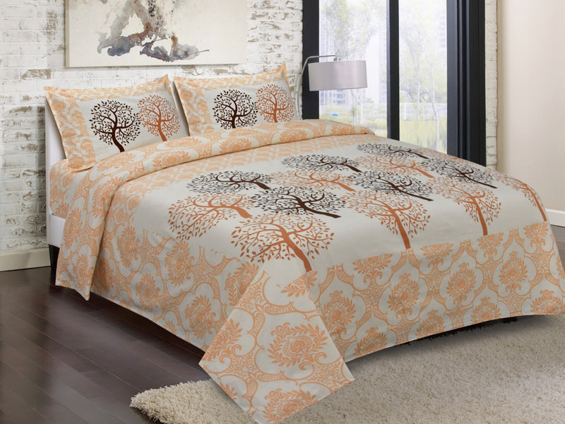 JaipurFabric Cotton Jaipuri King Size Traditional Beautiful Rajasthani Orange and White Color Print Double Bedsheet with 2 Pillow Cover (18 X 28 Inch) Set Double Bedspread Size (100x108 Inch)(BPJ_028)