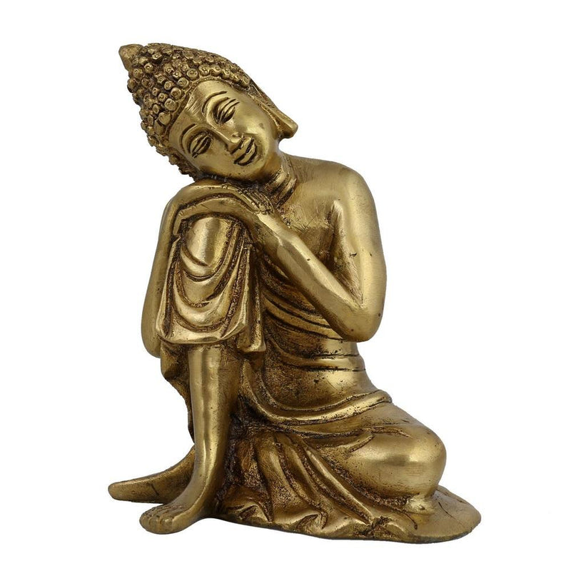 Buddha Statue Buddhist Art Sculptures Home Décor; Brass; 4.5 X 4.25 X 6 Inches