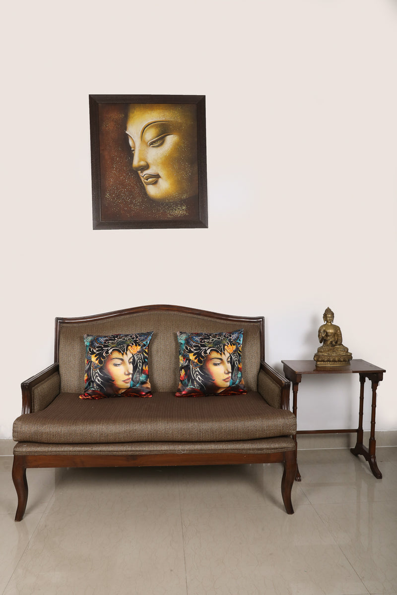Shalinindia Face Print Digital Multicolor Decorative Throw Pillow Home Decor Polyster Cushion Covers (16x16 inches) Set of 2 for Sofa Couch Bed Living Room Bedroom Home Furnishing and Decorations(CC_Digital-38)