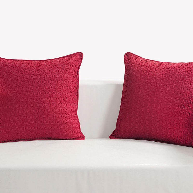Set of 2 Hakoba Cotton Cushion Covers 18 x 18; Embroidery and Cutwork;Wine Spring Décor