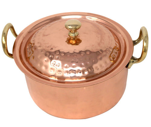 Copper Cookware Pot With Two Brass Handles And A Lid Indian Kitchen Utensil Hand Hammered Capacity 1900 Ml