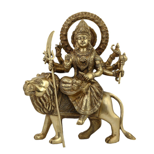 Durga Idol Religious Art Sculptures For the Home; Brass; 12 Inches