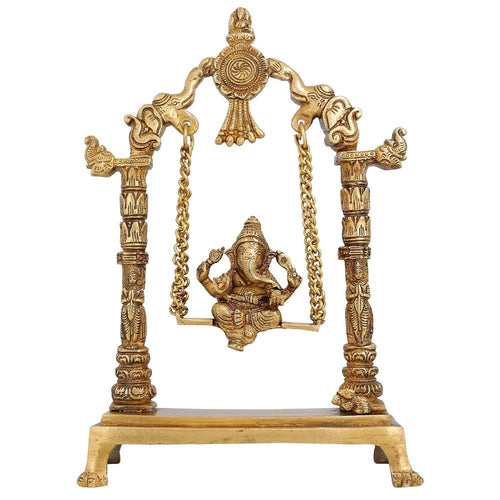 Statue Ganesha Sculpture Decor Sitting On Jhula; Brass; 12 Inches