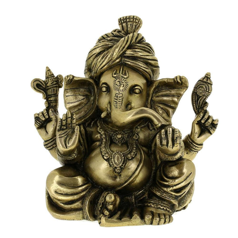 Ganesha Statue Sculpture Art Hindu Decor Spiritual; Brass; 8 Inches
