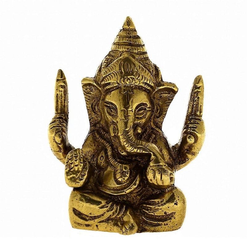 Statue Ganesha Sculpture Art Hindu Decor Spiritual; Brass; 2.25 Inches