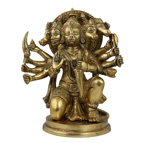 Hindu Figurine Indian God Hanuman Statue in Brass Metal 8.75 Inches
