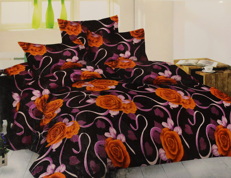 Glace Cotton Bedsheets for Double Bed King Size Flat sheets with 2 Pillow Covers Bedroom Decor Bedding Set Floral Orange(K_Life _Begin_04)