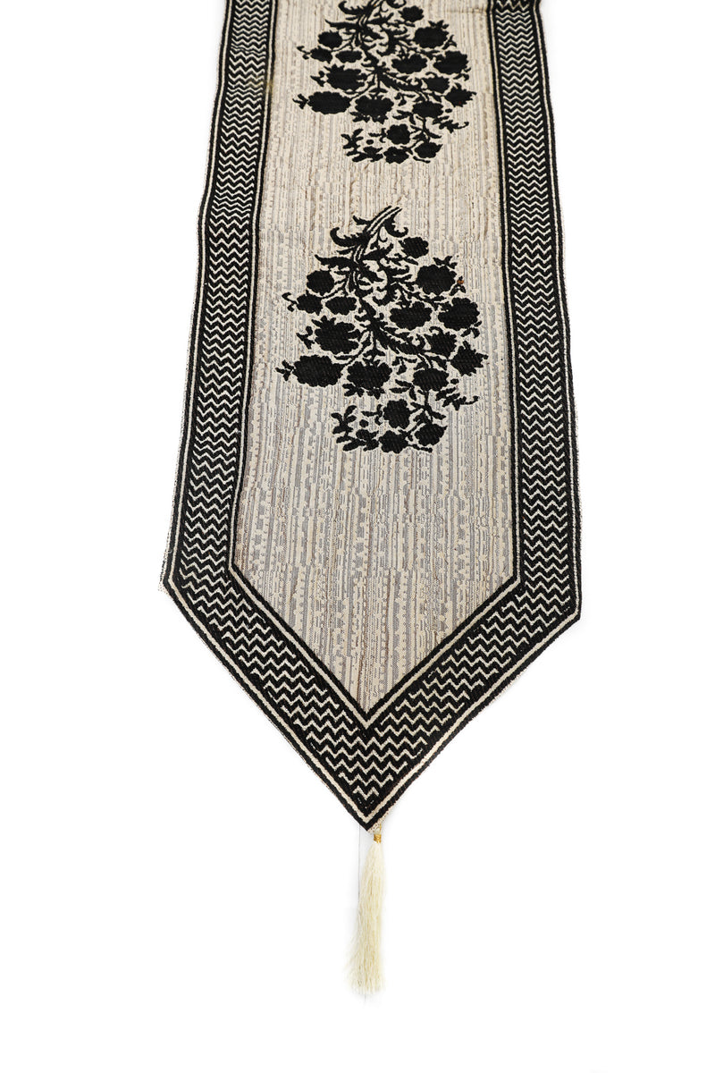 ShalinIndia Beautiful Home Decor Dining Table Cloth Table Runner Heavy Cotton With Attractive Modern Design For Centre Color Black Size 15x69 Inch(K_RNR_007)