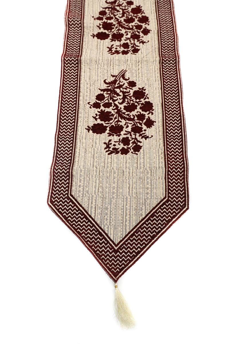 ShalinIndia Beautiful Home Decor Dining Table Cloth Table Runner Heavy Cotton With Attractive Modern Design For Centre Color Dark Brown Size 15x69 Inch(K_RNR_011)