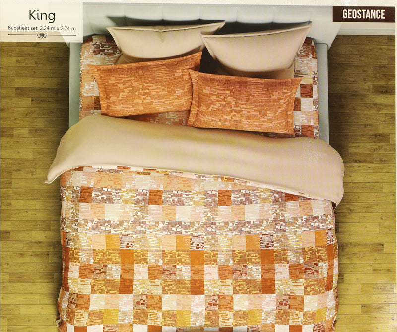 Glace Cotton Bedsheets for Double Bed King Size Flat sheets with 2 Pillow Covers Bedroom Decor Bedding Set Geometical Orange(K_Spaces_04)