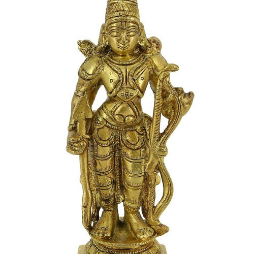 Shalinindia Hinduism Symbol Lord Rama Brass Staue Standing Holding Bow5 Inch416 Grams
