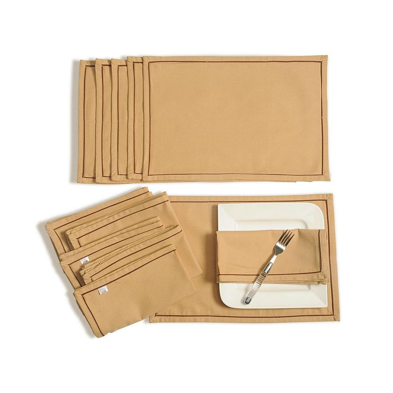 Solid Color Dining Mat and Napkin Set 6 Seater Mat 12''x18 inch, Napkin 20 inchx20 inch,MAN12S-Beige