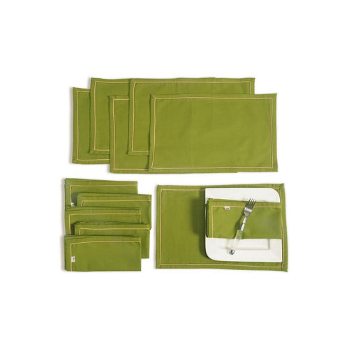 Solid Color Dining Mat and Napkin Set 6 Seater Mat 12''x18 inch, Napkin 20 inchx20 inch,MAN12S-Green