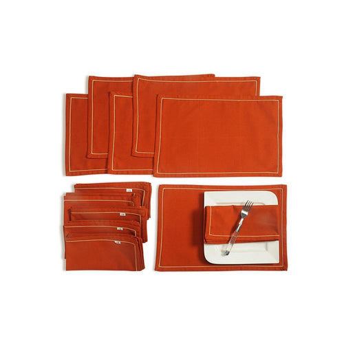 Solid Color Dining Mat and Napkin Set 6 Seater Mat 12''x18 inch, Napkin 20 inchx20 inch,MAN12S-Rust
