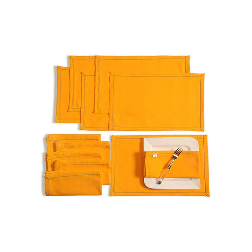 Solid Color Dining Mat and Napkin Set 6 Seater Mat 12''x18 inch, Napkin 20 inchx20 inch,MAN12S-Yellow