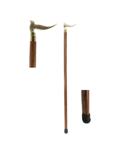 Handcrafted Canes and Walking Sticks-36 Inch Sitting bird Brass Handle Walking Stick - Inspired by Irish Walking Stick Designs