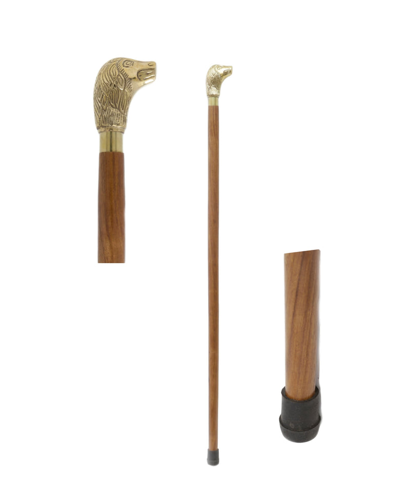 ShalinIndia Handcrafted Dog Head Brass Handle Canes and Walking Sticks (36 Inch)
