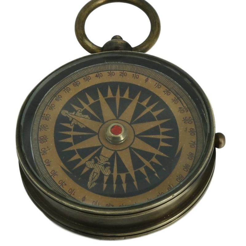 Shalinindia Antique Floating Dial Pocket Watch - Travel Accessories - 2.2 Inch - Brass Compass