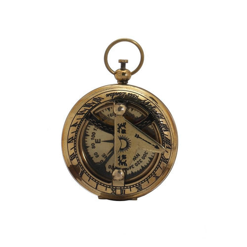 "ShalinIndia Brass Push Button Sundial Compass - Brass - 1.75"" - Designer Travel Accessories"