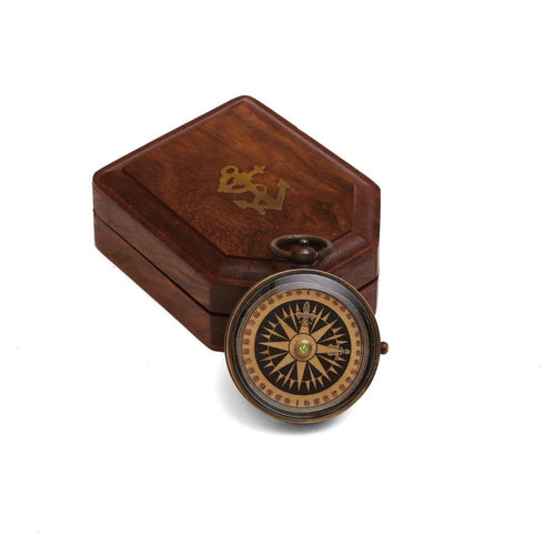 "ShalinIndia Antique Floating Dial Pocket Watch - 2.2"" - Brass Compass - Travel Accessories"