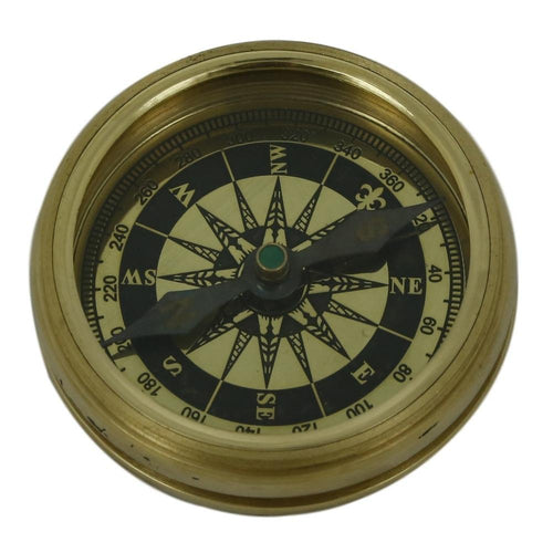 Shalinindia Vintage Inspired Pocket Brass Compass With Leather Case- Travel Accessories 2 Inch
