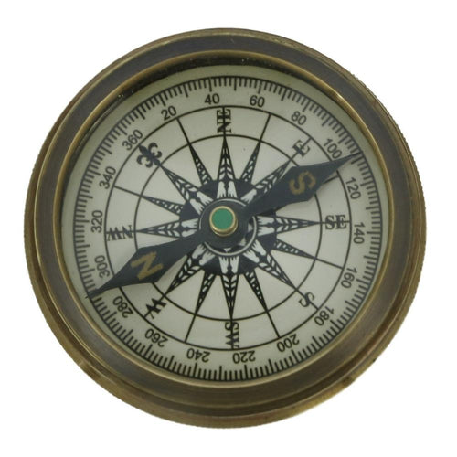 Shalinindia Vintage Inspired Pocket Brass Compass With Leather Case -2 Inches Travel Accessories - Made In India