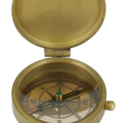 Shalinindia Antique Inspired -Brass Compass With Leather Case-2 Inches-Travel Accessories