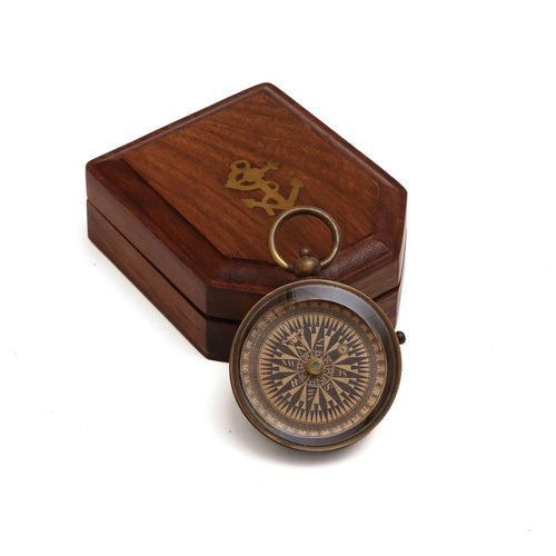 ShalinIndia Floating Dial Pocket Compass with Lock - Handcrafted Wood Gift Box Included - Travel Accessories