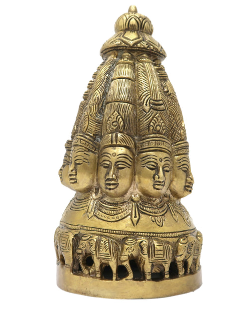 Goddess Laxmi Stupa with Ten Heads and Elephants Brass Idol for Hindu Home Decorations 7.5x3.5x3.5 inches; 1450 Grams