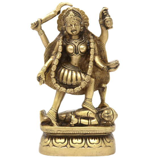 Maa Kali Idol Brass Metal Murti for Puja in Home Temple Mandir 6.5x3.25x1.75 inches; 1310 Grams.