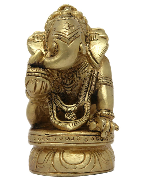 Baby Ganesh Kneeling On Base Hindu Deco for Diwali Decorations 3x2x1.5 Inches; 485 Grams