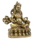 Fine Carved Kuber Idol Brass Metal Statue for Diwali Puja and Hindu Home Decorations 4.75x3.75x2.25 inches; 630 Grams