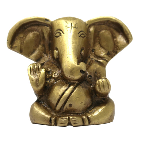 Long Ear Lord Ganesha Bhagwan Brass Statue Murti for Car and Home Décor Size: 1.25x1.5x0.5 inches
