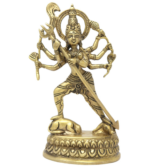 Durga Hindu Goddess Religious Statue Standing on Buffalo Brass Figurines 8x4x2 Inches; 1060 Grams